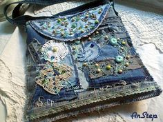 Denim Crafts, Handmade Purses, Boro, Pattern Making, Couture, Embroidery, Handbags, Sewing, Shirt Ideas