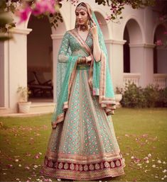 Sabyasachi just launched his 2020 new bridal collection. Sabyasachi Sultana Wedding Lehengas come in gorgeous new shades and you've got to see the dupatta! Indian Bridal Lehenga, Indian Bridal Outfits, Indian Bridal Fashion, Wedding Lehnga, Wedding Wear, Wedding Suits, Wedding Dress, Bridal Lehenga Collection, Sabyasachi Collection