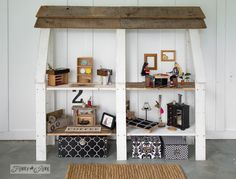 Upcycled dollhouse bookshelf with handmade furniture from wood scraps and thrift store finds / FunkyJunkInteriors.net