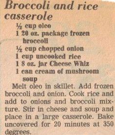 Broccoli & Rice Casserole Recipe Clipping