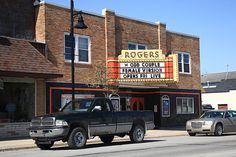 Rogers City, Michigan - Theater and Pickup. Fine Art Photography.