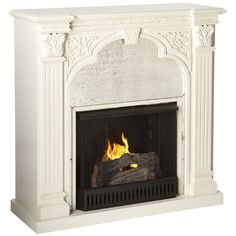 """Palomar Gel Fuel Fireplace  Details  Add a warm and inviting ambiance to your family room, living room, or master suite with this beautiful gel fuel fireplace.    Product: Fireplace  Construction Material: Poplar wood, MDF and antique mirrored glass  Finish: Ivory  Features:  Accommodates up to a 42"""" flat screen TV  Mantel supports up to 85 lbs  Dimensions: 42"""" H x 42"""" W x 16"""" D"""