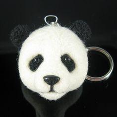 needle felted panda keychain: etsy.com/kaysK9s