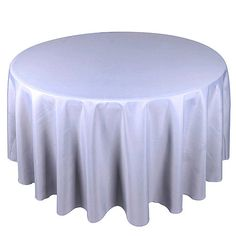 Silver 120 Inch Round Polyester Tablecloths
