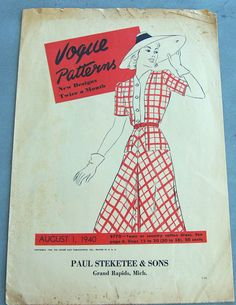 Vogue Patterns leaflet from Steketee & Sons - 1940