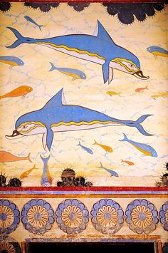 Arthur Evans reconstruction of the Dolphin Frescos, Knossos Minoan archaeological site, Crete | Download as royalty free photos of buy photo wall art prints on line. Photographer Paul Williams.