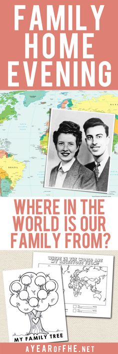 A Year of FHE // A lesson plan about where in the world our ancestors are from! This is such a great way to turn the hearts of your children towards their ancestors. Includes two free downloads and lots of great activity ideas to get the family excited about Family History! #lds #familyhistory