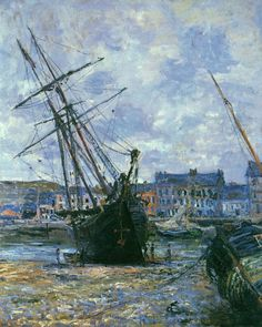 Boats Lying at Low Tide at Facamp by Claude Monet