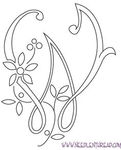 Monogram for Hand Embroidery: The Letter W