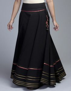 Buy Cotton Gota Trim Long Skirt Online in India at cooliyo . Choli Dress, Dress Skirt, Kurta Skirt, Maxi Outfits, Fashion Outfits, Fashion Wear, Fashion Boots, Indian Prom Dresses, Long Skirts Online
