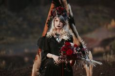 Dark and moody flower bouquet, statement flower crown, goth look, vintage look, black dress, black lipstick, handmade jewellery, gorgeous necklace, goth girl Goth Look, Black Lipstick, Handmade Jewellery, Goth Girls, Flower Crown, Vintage Looks, Dress Black, Bouquet, Dreadlocks