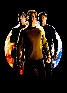 Zachary Quinto (Spock), Chris Pine (Captain Kirk), Karl Urban (Leonardo 'Bones' McCoy.  Too much awesomeness in one picture!!!!