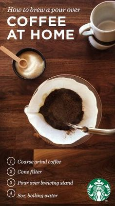 """Brewing the perfect pour over is easy. First, wet the filter to eliminate any paper taste, but be sure to pour this water out before brewing. Next, place 2 tbsp of coarse grounds per 6 oz of water in the wet filter. Pour hot water, fresh off the boil, over the grounds in a circular motion until they """"bloom"""" (bubble). About 15 sec later, pour the remaining water over the grounds with the same, circular motion. Once done, remove the filter and stand, then pull your mug and enjoy!"""