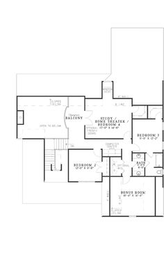 Second Floor Plan of Bungalow   Country   Farmhouse  Southern   House Plan 62192