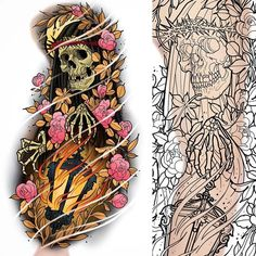 Another new sleeve up for grabs #tattoo #tattoos #tattooing #tattooist #tattooer #tattooed #tattooart #tattooartist #tattoodesign #tattooworkers #sleevetattoo #tattoosleeve #grimreaper #reapertattoo #lantern #fire #grimreapertattoo #flowers #flowertattoo #art #design #drawing #ink #neotrad #neotradsub #neotraditional #newtraditional #newtrad #uktta #uktattoo