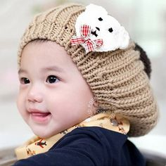 f5c4d6e9c69 Wholesale Baby Knitted Winter Hats Kids Skullies   Beanies Bear Labeling