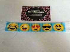 Handmade Beaded Jewelry by BeadedPinktopia por BeadedPinktopia Bead Loom Patterns, Bracelet Patterns, Beading Patterns, Bead Loom Bracelets, Bracelet Crafts, Elephant Cross Stitch, Emoji, Handmade Beaded Jewelry, Beading Projects