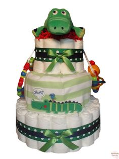 Chomp The Alligator Diaper Cake 3 Tier