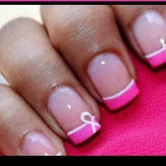 Breast Cancer Pink Ribbon Nails