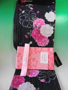 Japanese Traditional Kimono Yukata (Kimono for summer)and Obi and Koshihimo set