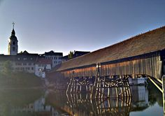 Old Bridge in Olten (Switzerland) Covered Bridges, Wonderful Places, Barns, Places Ive Been, Trips, Buildings, The Past, Louvre, City