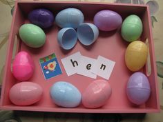 Easter egg phonics with free printables. Have fun hunting for the eggs, then put the words together or modify the task for older kids, or toddlers.