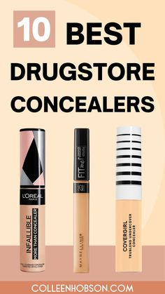 Top 10 best drugstore concealers for covering dark under eye circles and blemishes.#bestdrugstoreconcealer Best Drugstore Concealer, Best Drugstore Foundation, Drugstore Beauty, Amazon Beauty Products, Best Skincare Products, Makeup Products, Makeup Must Haves, Makeup To Buy, Beste Concealer