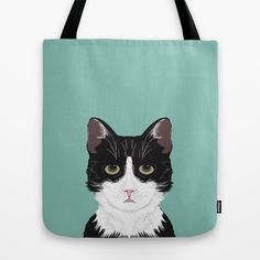 Quinn - Cute black and white cat tuxedo cat gifts for cat lady gift ideas cell phone case with cat Tote Bag by PetFriendly - $22.00