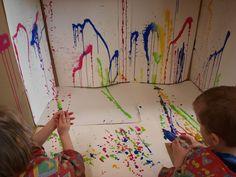 Arte abstracto. Los alumnos pueden experimentar y dibujar con jeringuillas y colores su dibujo, para que sirva como decoración.