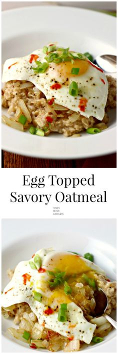 Savory whole grain oatmeal flavored with soy and sesame and topped with sauteed onion, an egg, and some Sriracha for a little kick! Breakfast Dishes, Breakfast Time, Best Breakfast, Breakfast Recipes, Egg Recipes, Brunch Recipes, Cooking Recipes, Healthy Recipes, Savory Oatmeal