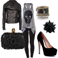 concert outfits, skull, rock concert outfit, heel, leather jackets