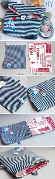 Cosmetic bag in marine style. DIY Tutorial with Photos. http://www.handmadiya.com/2015/12/cosmetic-bag-sea-tutorial.html