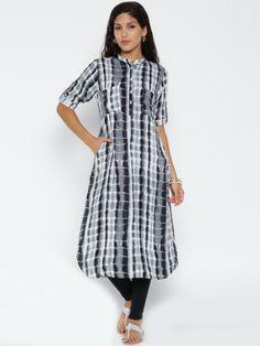 Shree Grey & White Tie-Dyed Pathani Kurta