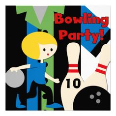 Boys having a bowling birthday party will love our customizable bowling theme invites that are easy to add your own party specifics to before ordering. A boy bowling, bowling shirt, bowling balls, and pins are featured on a bright and cheery invite sure to delight! #bowling #bowl #bowling #party #parties #birthday #kids #boys #childrens #sports #customized #party #peacockcards #custom #cute #fun