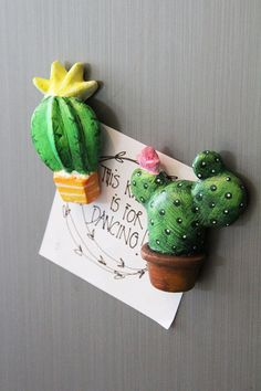 Prickly Pear cactus magnet in paper clay miniature by gumcrackkids
