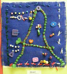 Burlap Sewing:  Suffield Elementary Art Blog!: 3rd Grade Sewn Initials