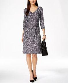 NY Collection Paisley Faux-Wrap Dress   macys.com