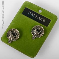 Wallace Clan Crest Pewter Cufflinks. Free worldwide shipping available