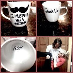 The 25 Best Prom Proposals of All Time Shoes and coffee mug, Pure perfection!