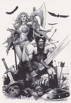 Red Sonja, Comic Book Covers, Comic Books Art, Warrior Drawing, Conan The Barbarian, Black White Art, Famous Artists, Ink Art, Comic Con