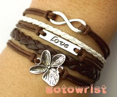 Infinity Love Flower Bracelet Antique Silver Brown Leather Bracelet Cute Bracelet Personalized Jewelry
