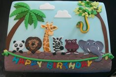 Wild Animal Birthday Cake - A Birthday Cake Jungle Birthday Cakes, Twin Birthday Cakes, Animal Birthday Cakes, Baby Boy 1st Birthday, Zoo Animal Cakes, Safari Baby Shower Cake, Zoo Cake, Safari Cakes, Themed Cakes