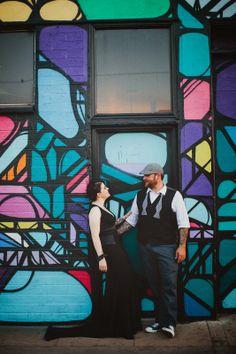 Downtown Phoenix, AZ Art Studio Wedding. Bride wore Black. Image by @GALAXIE ANDREWS