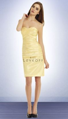 Bill Levkoff Short Strapless Pleated Fitted Bridesmaid Dress 592