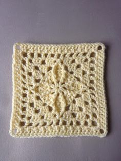 "A yellow 7"" square..... ~ free pattern"