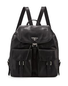 V23G4 Prada Soft Calf Double-Pocket Backpack, Black (Nero)