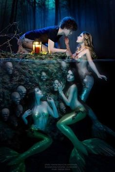 Sirens hunting. one comes above the surface to entice the boy. slowly she will descend back into the water as her companions gradually surround him to make sure there is no escape when her song ends.