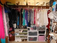 Hahaha someone actually thinks a dorm closet is this big!!!  Closet Organization. A must for small dorm rooms.