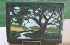 Ephraim Faience Arts and Crafts Pottery Tile - Sunny Afternoon Landscape