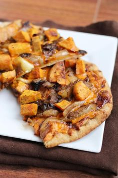 Sweet Potato & Caramelized Onion BBQ Cheddar Pizza - my adapted veganized list: baked sweet potato, onion slices, homemade pizza crust, bbq sauce, (vegan cheeze); once uponacuttingboard